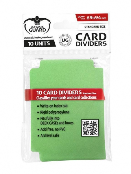 Oddělovač na karty Ultimate Guard Card Dividers Standard Size Green - 10ks